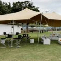 Stretch Tent: Stone colour incl. all Equipment 6mx8m