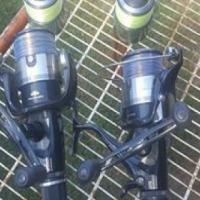 2 waft black stallion stokke met 2 shimano 8000 gte katrolle met spaar spoelle te koop for sale  South Africa