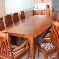 Genuine oregon pine table with 10 riempie chairs