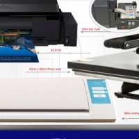 Big boy printing kit A3 sublimation printing kit with vinyl cutter and 40 x 60 Flat heat press