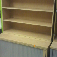 Maple Display Wall Units with Credenza and Shelving