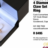 Ladies 9ct Rose Gold 4 Diamond Square Claw Set Engagement Ring, used for sale  South Africa