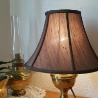 Vintage Electrified brass oil lamp
