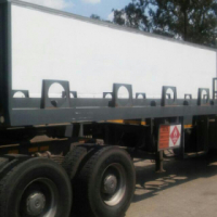 Ex AFROX Gas cylinder double axle trailer with skyjack tail lift for sale