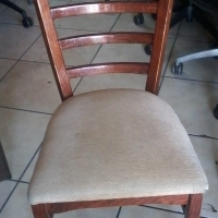Wooden Dining Chairs  with Cream Fabric Seats