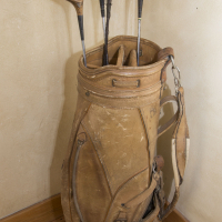 Old Leather Golf Bag & Clubs