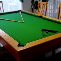 Solid oak pool table with slate top