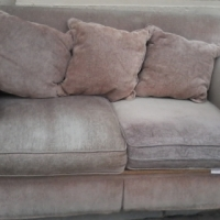 Soft Suede 2-Seater Couches with 6 Cushions