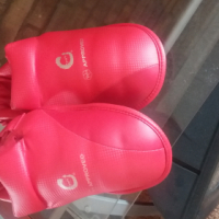 Red kickboxing boots