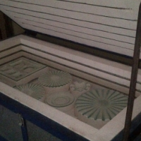 Glass kiln with moulds and already cut Glass