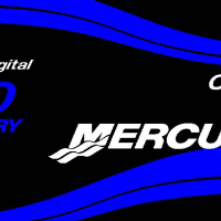 Mercury 125 HP outboard motor cowl decals stickers graphics