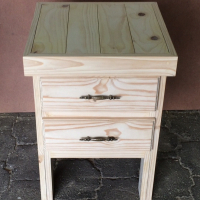 Night stand Farmhouse series 515 with 2 drawers extra height - Two tone
