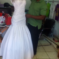 wight wedding dress