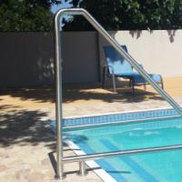 Swimming pool hand rail, outside mount, Stainless steel, DIY kit.