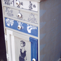Lady in Black Cabinet with 3 Drawers (595x540x1030)