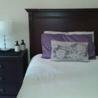 BEDROOM SUITE. HEADBOARD Wetherlys (SINGLE) WITH 1 X MATCHING PEDESTAL
