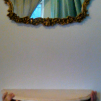 Stunning vintage marble and brass half moon table and mirror