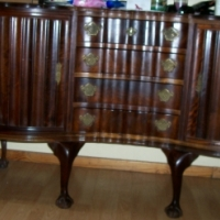 Solid imbue carved claw and ball sideboard large