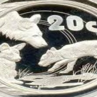 Silver coin 20 cents 2005 Wild dogs