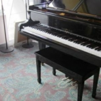 baby grand piano black high gloss with bench