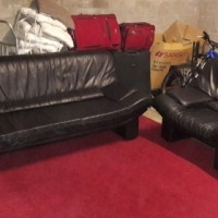 Leather Italian Designer Lounge Black Suite (Big 3-seater+1xChair)Excellent Condition!!