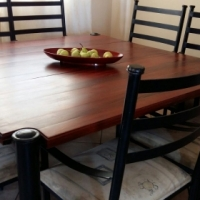 8 seater Brazilian Tiger Wood Table Top & Wrought Iron Table & Chairs