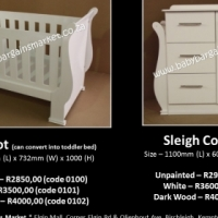 Brand New White Sleigh Cot - Convert into toddler bed