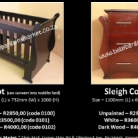 Brand New Dark Wood Sleigh Cot - Convert Into Toddler Bed