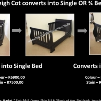 Brand New Dark Wood Sleigh Cot - Convert Into 3/4 Bed