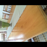 Yellow wood 8 seater dining table and chairs