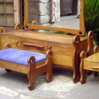 Teak Bedroom Set (Dressing Table with Chair ans 2 Bedside Chests)