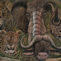 Big Five Oil Painting by Harry Erasmus. 120 x 80 sm painted on animal hide. Market value R 25000