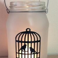 Sandblasted tea candle lanterns