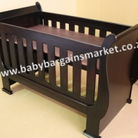 Brand New Burgundy Sleigh Cot (Converts Into Toddler Bed)