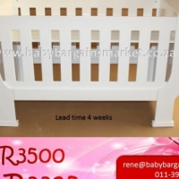 Brand New White Sleigh Cot - Super Wood