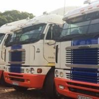 Vloot te koop. Freightliners met platbak trailers en drywers.