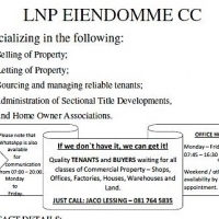 LNP EIENDOMME/PROPERTIES - PROPERTIES NEEDED