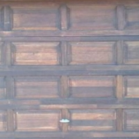 Two meranti garage doors