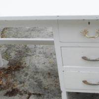 whitewashed desk with 3 drawers