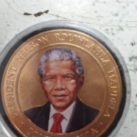 Bronze Nelson Mandela Colored coin.