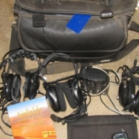 Pilot's Flight Bag and three headsets