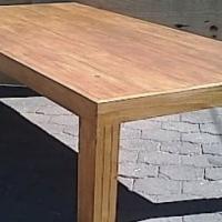 Patio table Chunky Farmhouse series 2400 with pillar legs - Oak stained