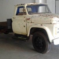 chev c50 flatbed 1965 body on chassis,wheels,gearbox,no motor,hotrod