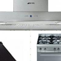 Brand new SMEG 6 burner gasstove/over; SMEG Extractor fan; SMEG griddle pan