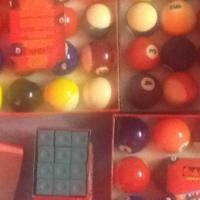 Pool table chalks and balls
