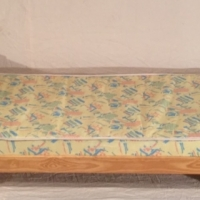 1602-13 Single pine milano bed with sponge mattress.