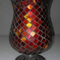 Hand crafted mosaic vase and candle holder, cut stained glass tiles R350