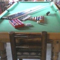 Equipped  Snooker/Pool table with top lid and 8 chairs for sale