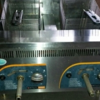 Double pan chip fryer (gas) for sale