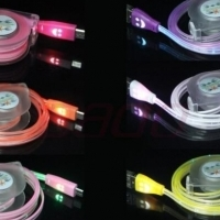 Smile Face USB-Micro USB Luminous LED Retractable Cable